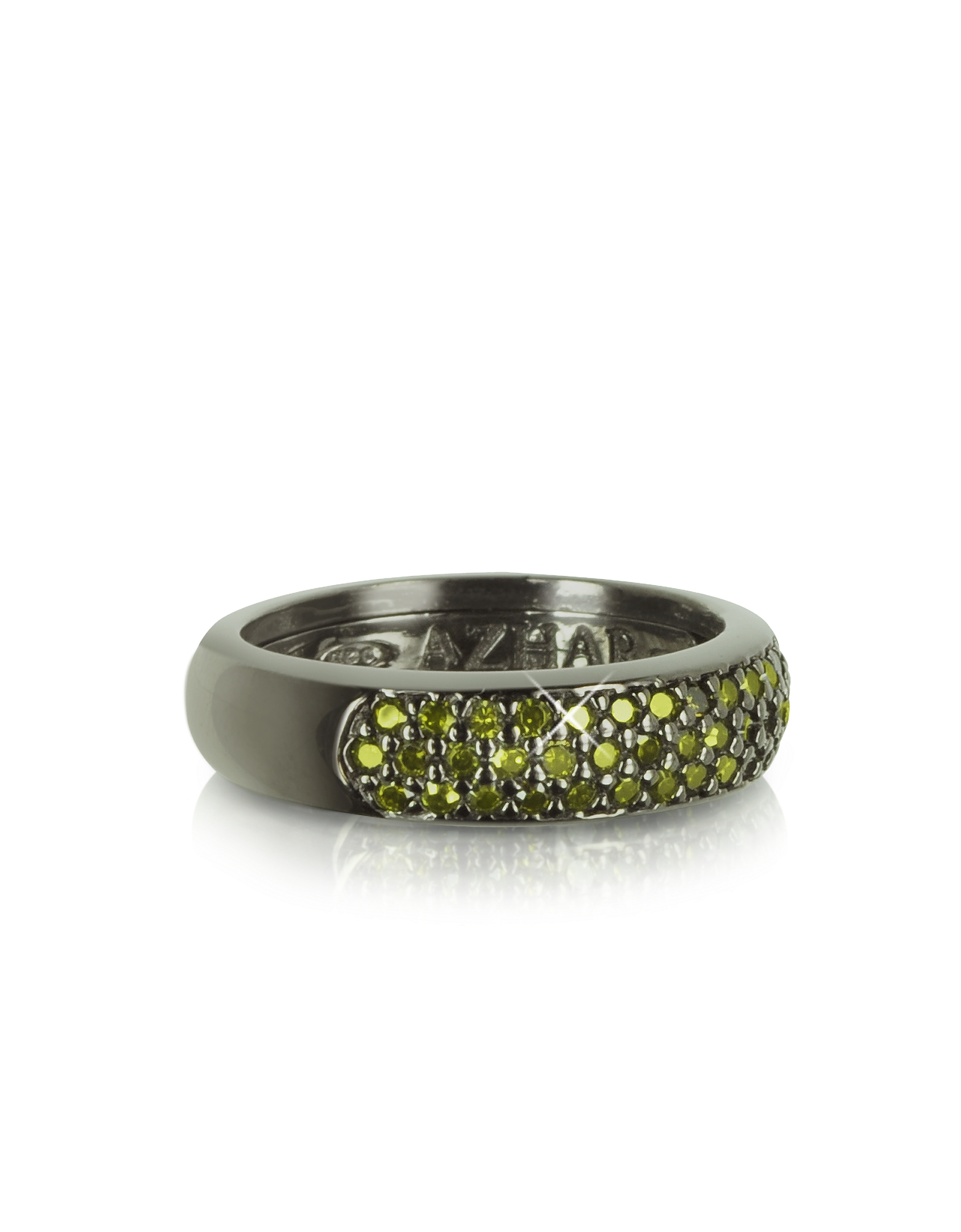 Azhar Designer Rings, Olive Green Cubic Zirconia and Sterling Silver Ring