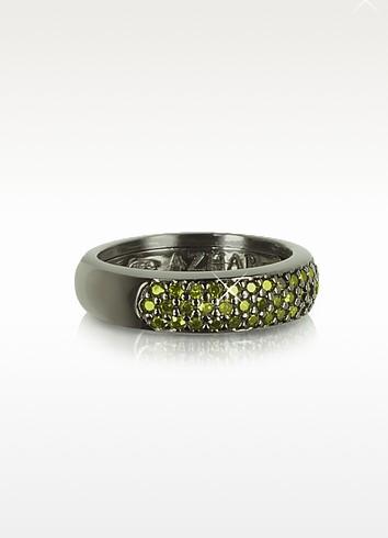 Ring aus Sterlingsilber mit Zirkonen in olivegrün - Azhar