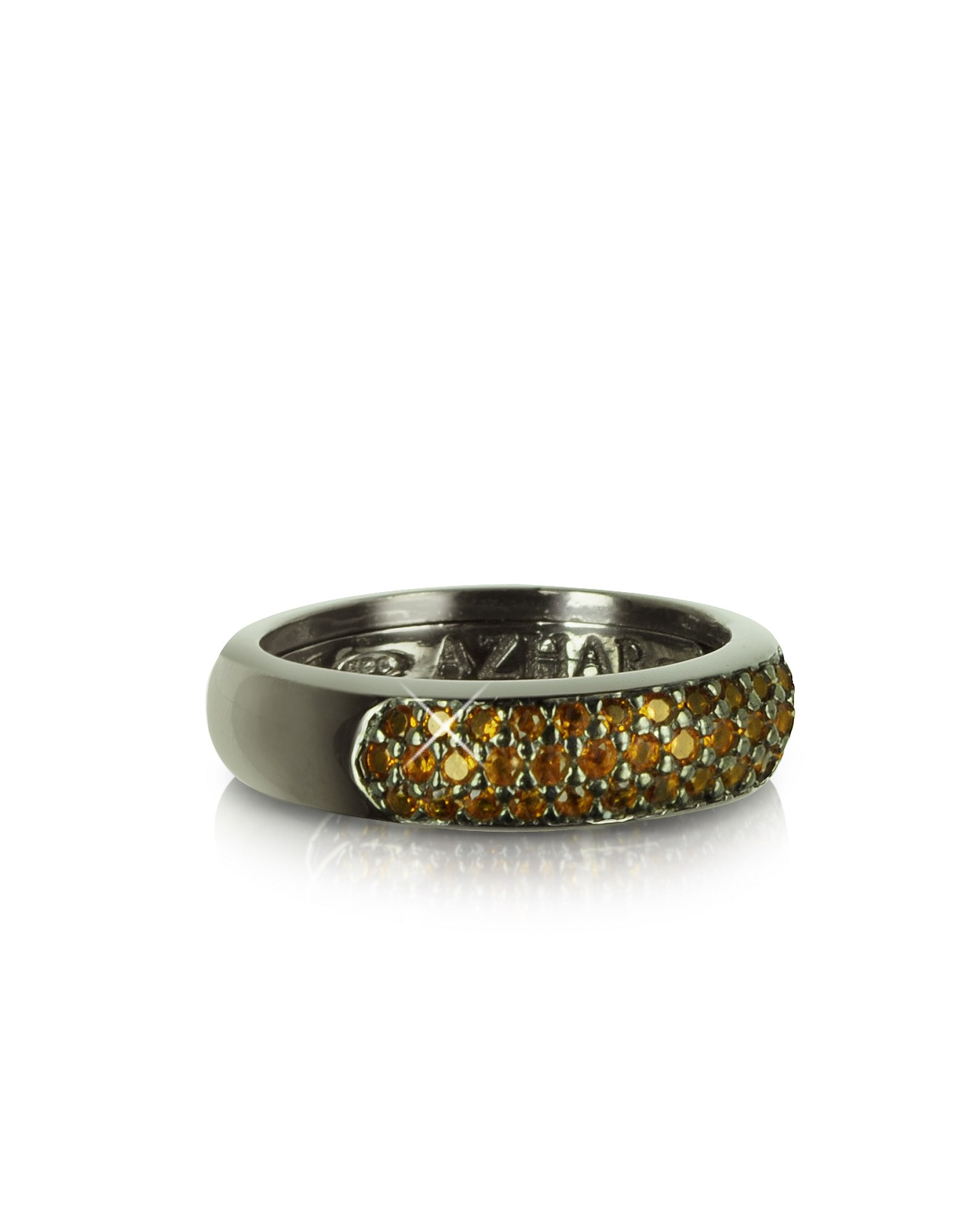 Azhar Designer Rings, Yellow Cubic Zirconia and Sterling Silver Ring