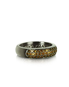 Yellow Cubic Zirconia and Sterling Silver Ring - Azhar