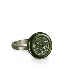 Ring aus Sterlingsilber in olivegrün mit Edelsteinen - Azhar