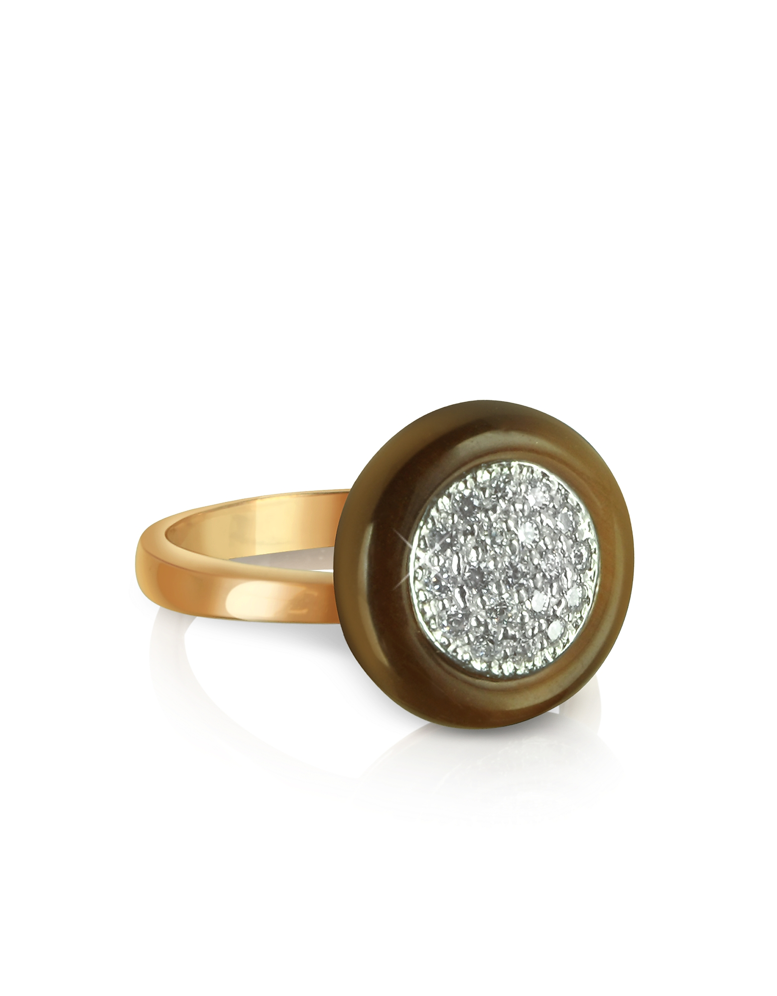 Azhar Rings, White Cubic Zirconia Silver Vermeil Ring