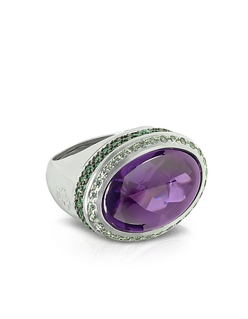 Azhar - Cubic Zirconia Sterling Silver Oval Cocktail Ring