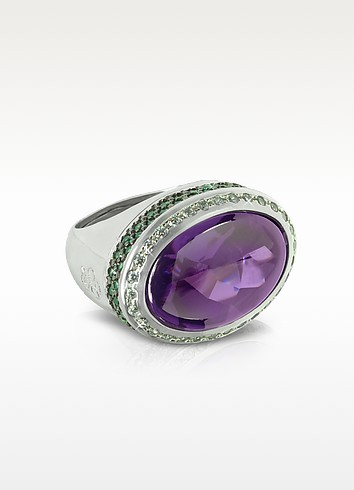 Cubic Zirconia Sterling Silver Oval Cocktail Ring - Azhar