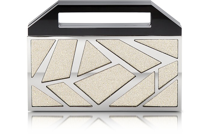Two Faces Ruthenium Plated Brass and Golden Viscose Clutch - Avril 8790