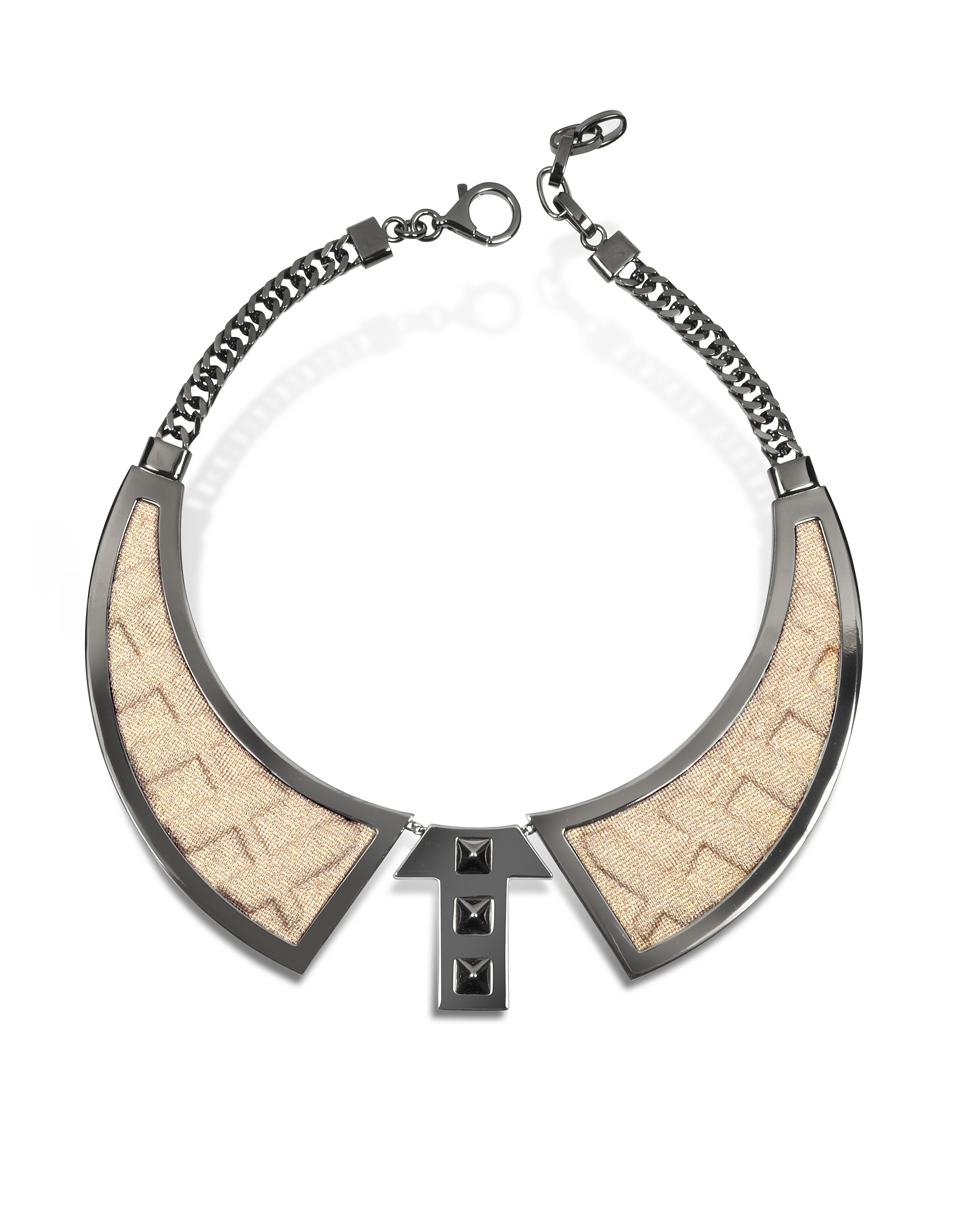Avril 8790 Necklaces, Bavero Contemporaneo Ruthenium Plated Brass and Golden Viscose Necklace