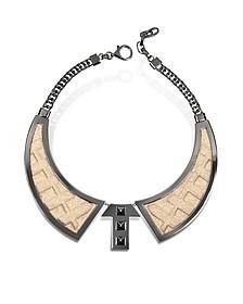 Bavero Contemporaneo Ruthenium Plated Brass and Golden Viscose Necklace - Avril 8790