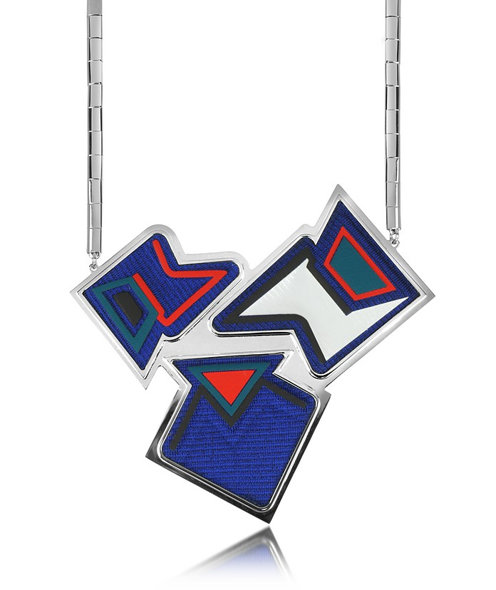Ziggy Palladium Plated Brass and Viscose Pendant Necklace - Avril 8790