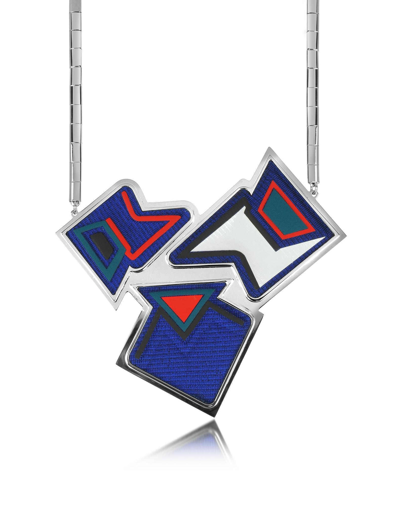 Ziggy - Ожерелье из Меди с Напылением Рутения и Разноцветной Вискозы
