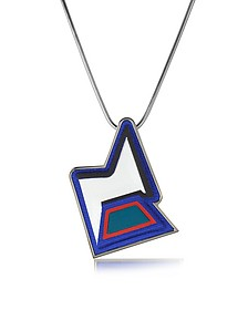 Ziggy Easy Palladium Plated Brass and Multicolor Viscose Pendant Necklace - Avril 8790