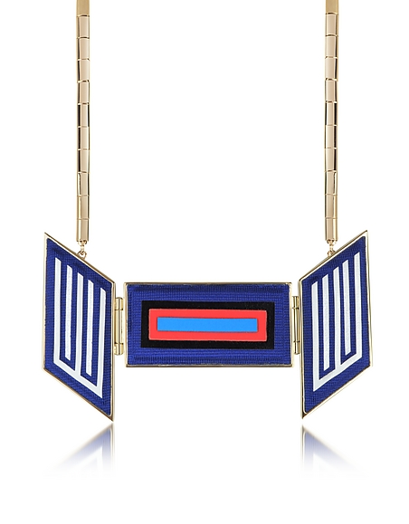 Avril 8790 Rigore - Collier en Laiton Plaqué Or Pâle avec Pendentif en Viscose Multicolore