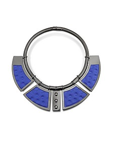 Geometric Ruthenium Plated Brass and Golden Viscose Collar Necklace w/Studs - Avril 8790