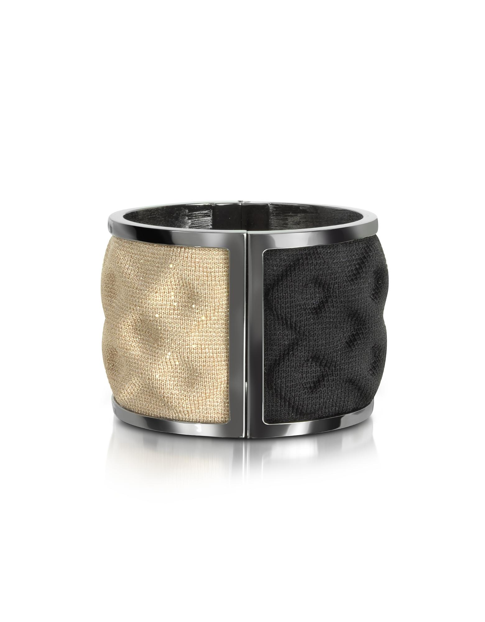 Avril 8790 Bracelets, Double Ruthenium Plated Brass and Black/Gold Viscose Bangle