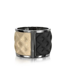Double Ruthenium Plated Brass and Black/Gold Viscose Bangle - Avril 8790