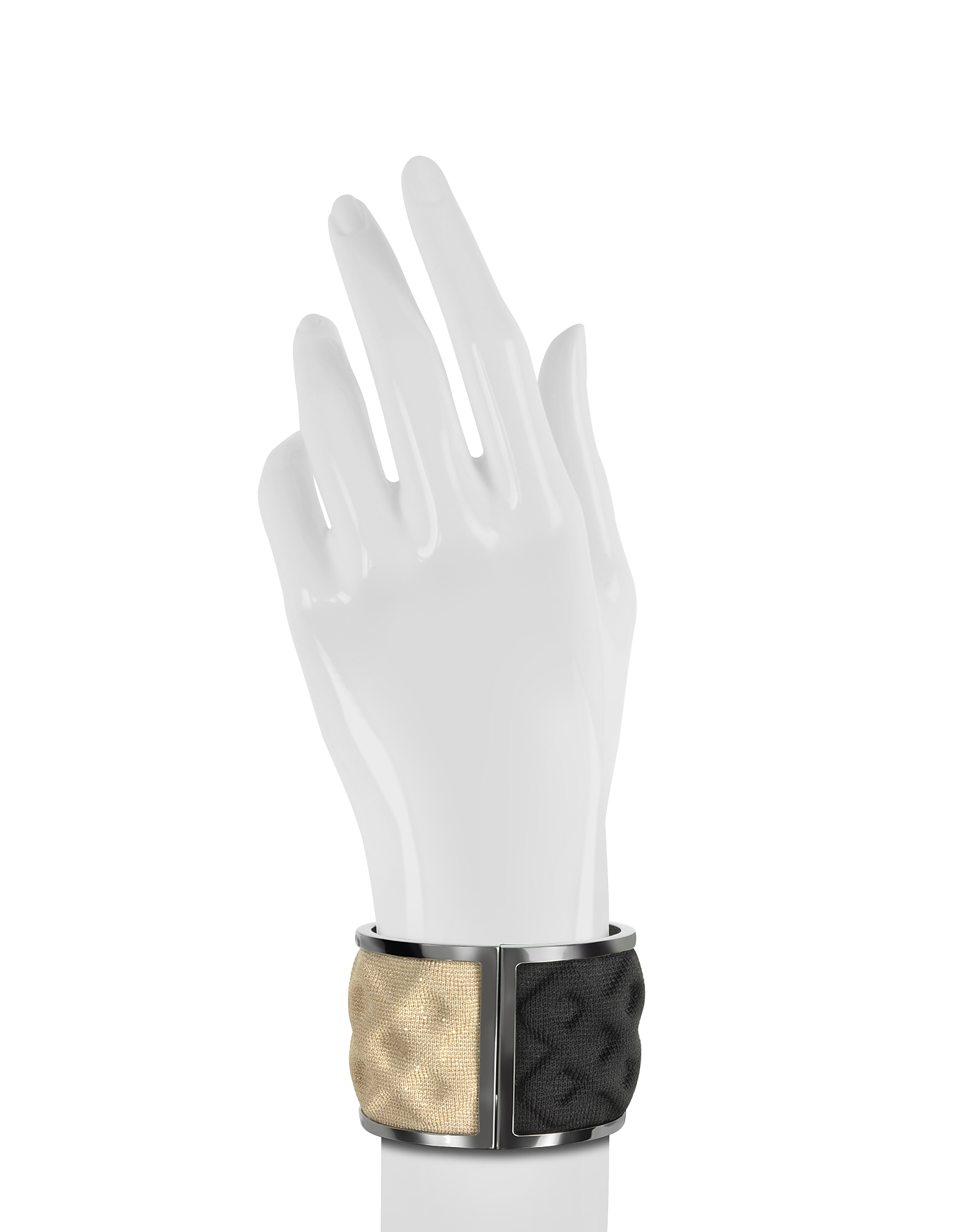 Double Ruthenium Plated Brass and Black/Gold Viscose Bangle от Forzieri.com INT