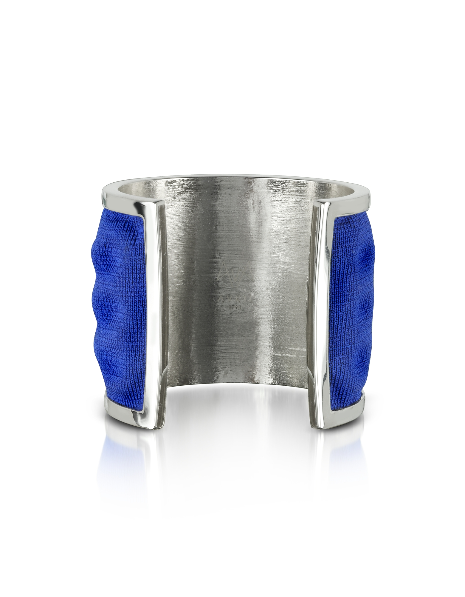Avril 8790 Bracelets, Palladium Plated Brass and Electric Blue Viscose Bangle