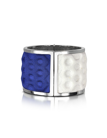 Avril 8790 - Palladium Plated Brass and White and Blue Viscose Bangle