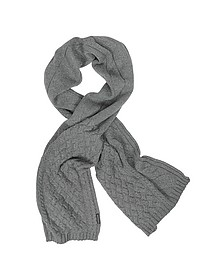 Cable Knit Wool Blend Long Scarf - Armani Jeans