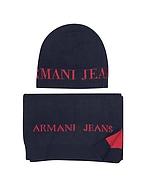 Armani Jeans Set di Sciarpa e Cappello in Lana Bicolore - armani jeans - it.forzieri.com