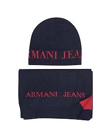 Set Écharpe et Bonnet Homme en Laine Mélangée Bicolore - Armani Jeans