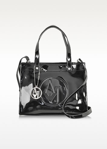 Small Eco Patent Leather Tote - Armani Jeans