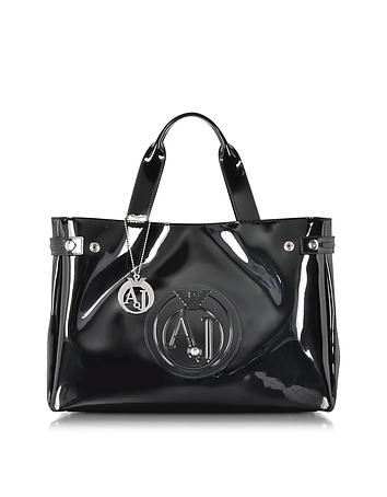Armani Jeans - Large Faux Patent Leather Tote