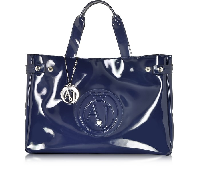 Large Faux Patent Leather Tote - Armani Jeans