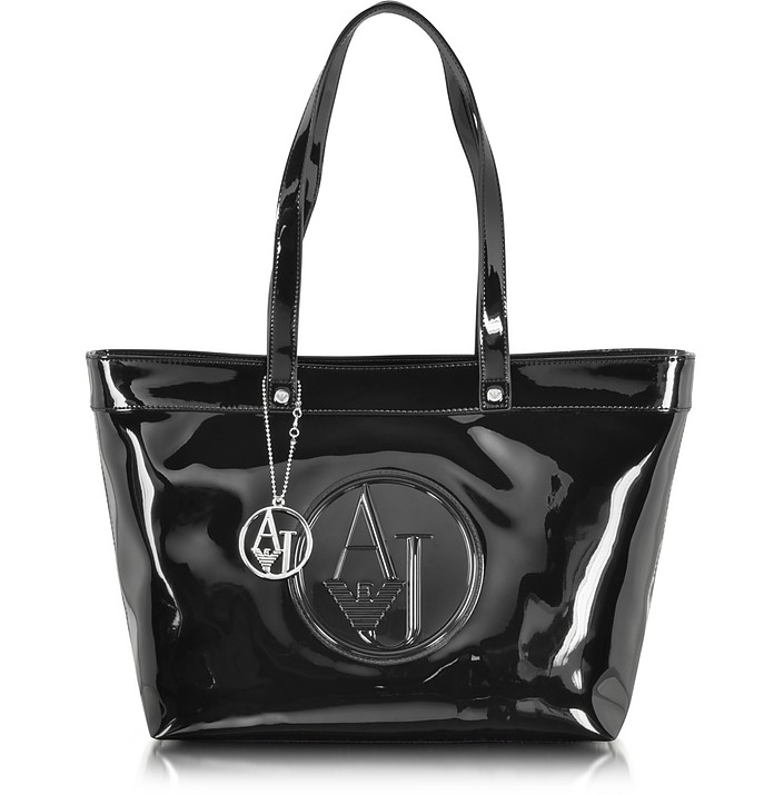 Black Eco Patent Leather Large Tote Bag - Armani Jeans
