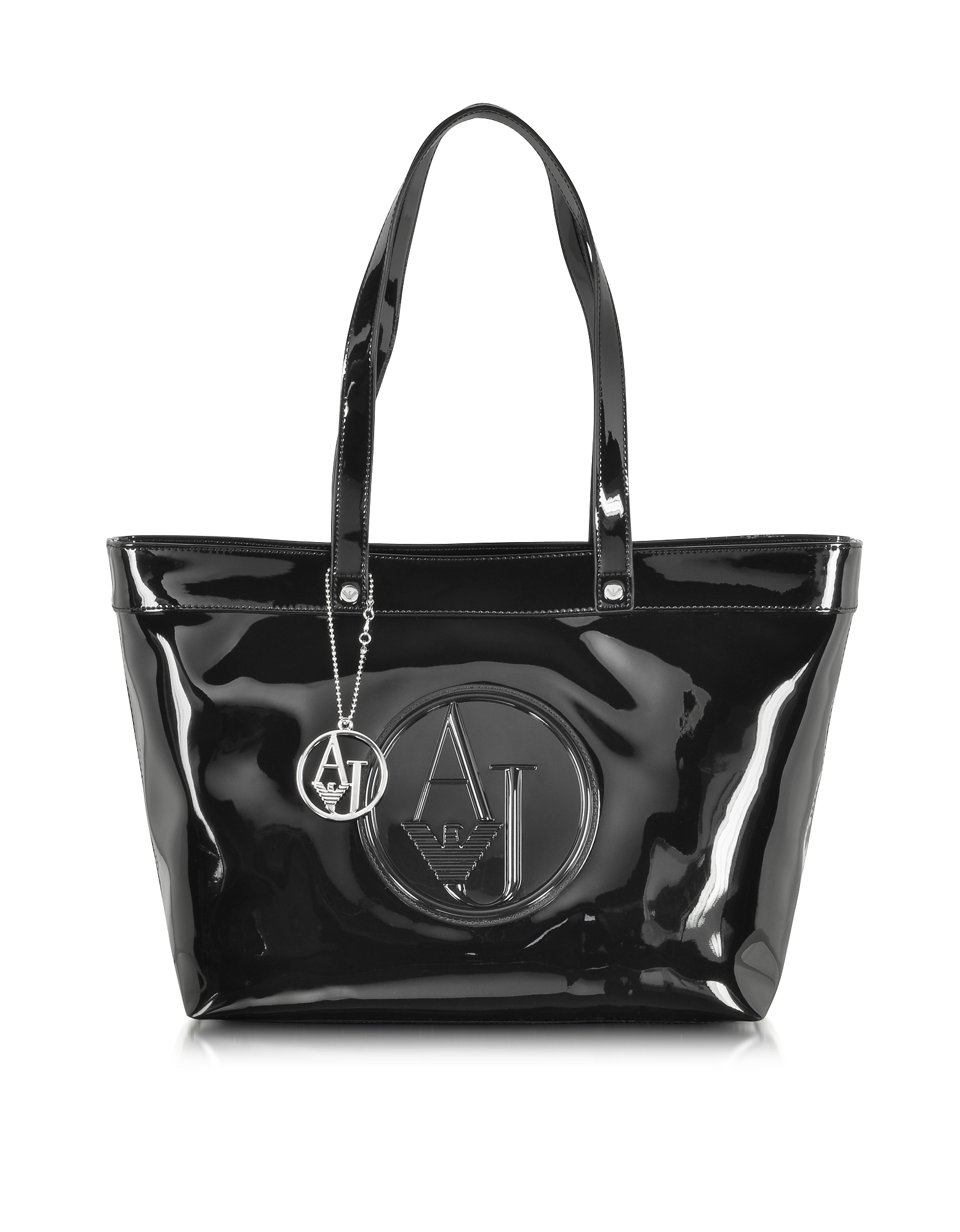 Armani Jeans Designer Handbags, Black Eco Patent Leather Large Tote Bag