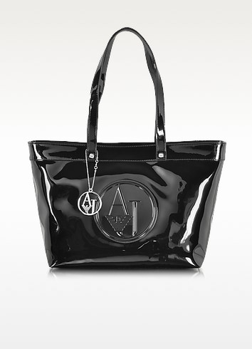 Black Eco Patent Leather Large Tote Bag - Armani Jeans