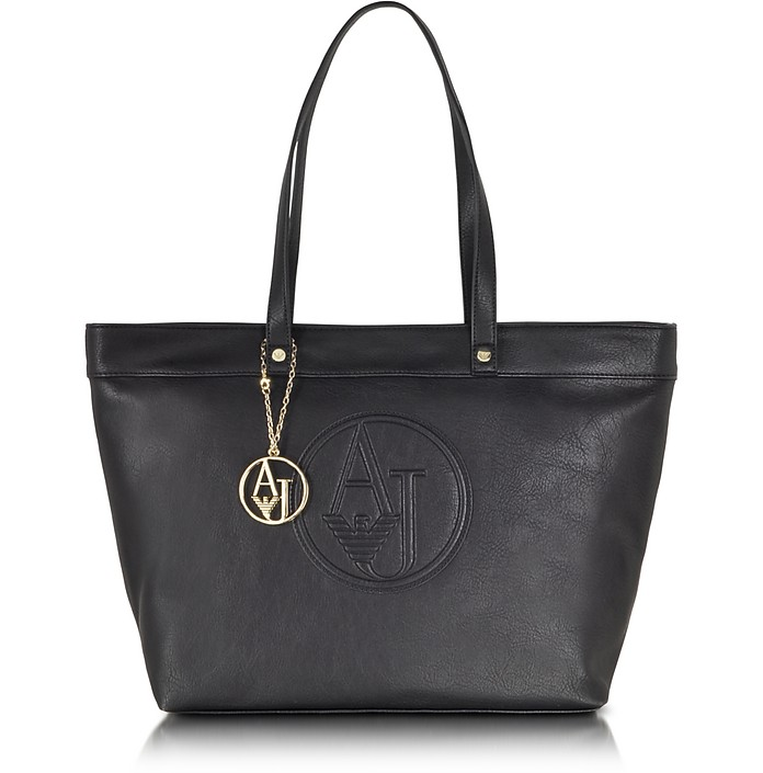 Large Faux Leather Zip Tote Bag - Armani Jeans