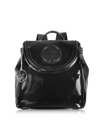 Black Patent Eco Leather Backpack