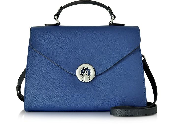 Royal Blue Eco Saffiano Leather Handbag - Armani Jeans