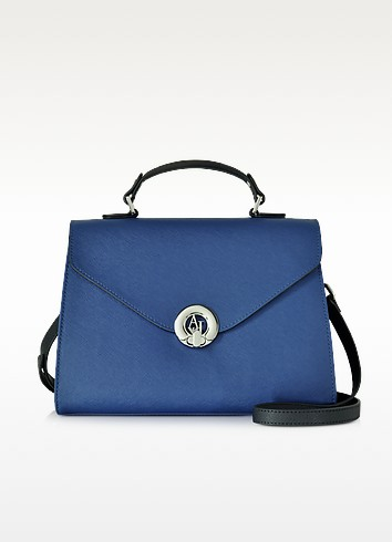 Royal Blue Eco Saffiano Leather Handbag - Armani Jeans