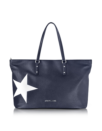Dark Navy Eco Leather Tote w/Star