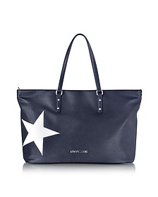 Cabas en Éco Cuir Bleu Foncé avec Imprimé Étoile Blanche - Armani Jeans