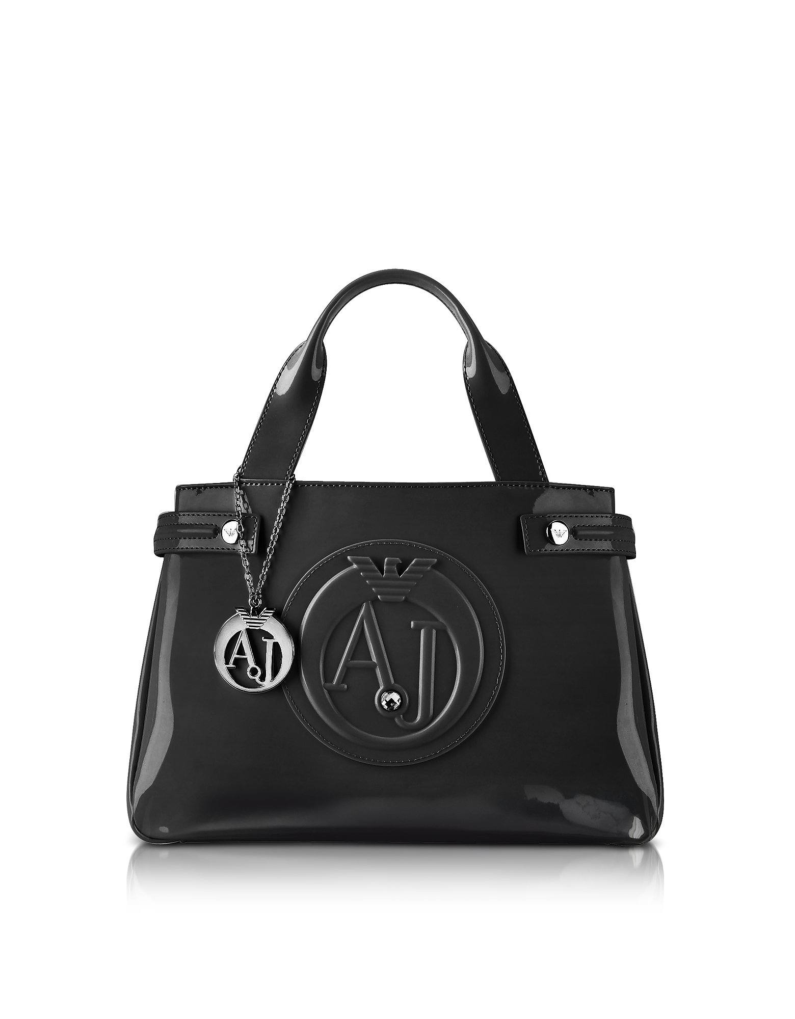 Armani Jeans Handbags, Medium Black Faux Patent Leather Tote