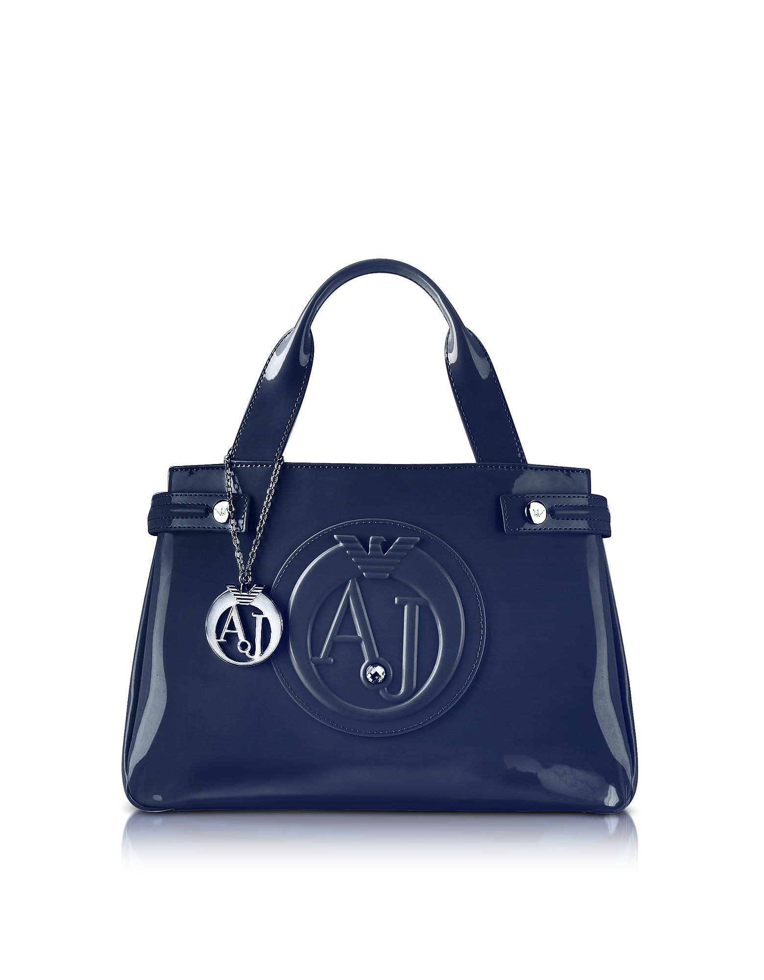 Armani Jeans Handbags, Medium Blue Faux Patent Leather Tote