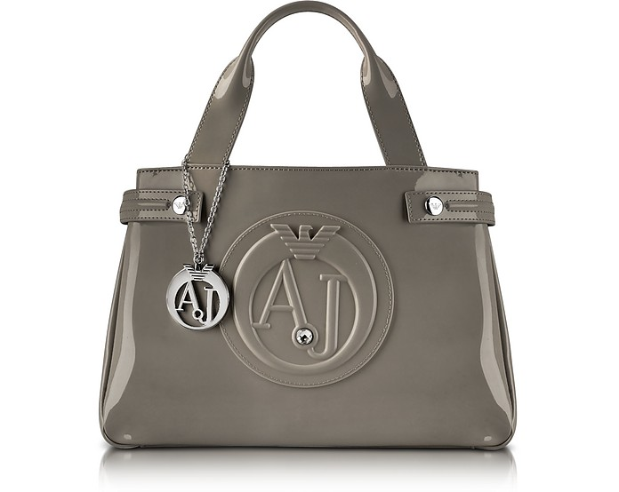 Medium Taupe Faux Patent Leather Tote