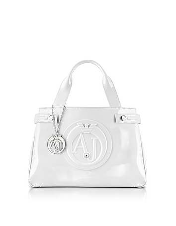 Armani Jeans - Medium Optic White Faux Patent Leather Tote