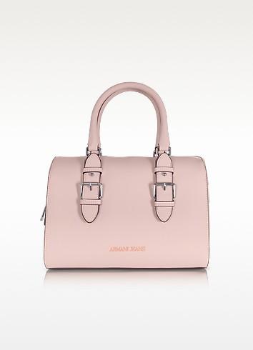 New Light Pink Eco Leather Satchel Bag - Armani Jeans