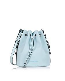 New Light Blue Eco Leather Bucket Bag - Armani Jeans