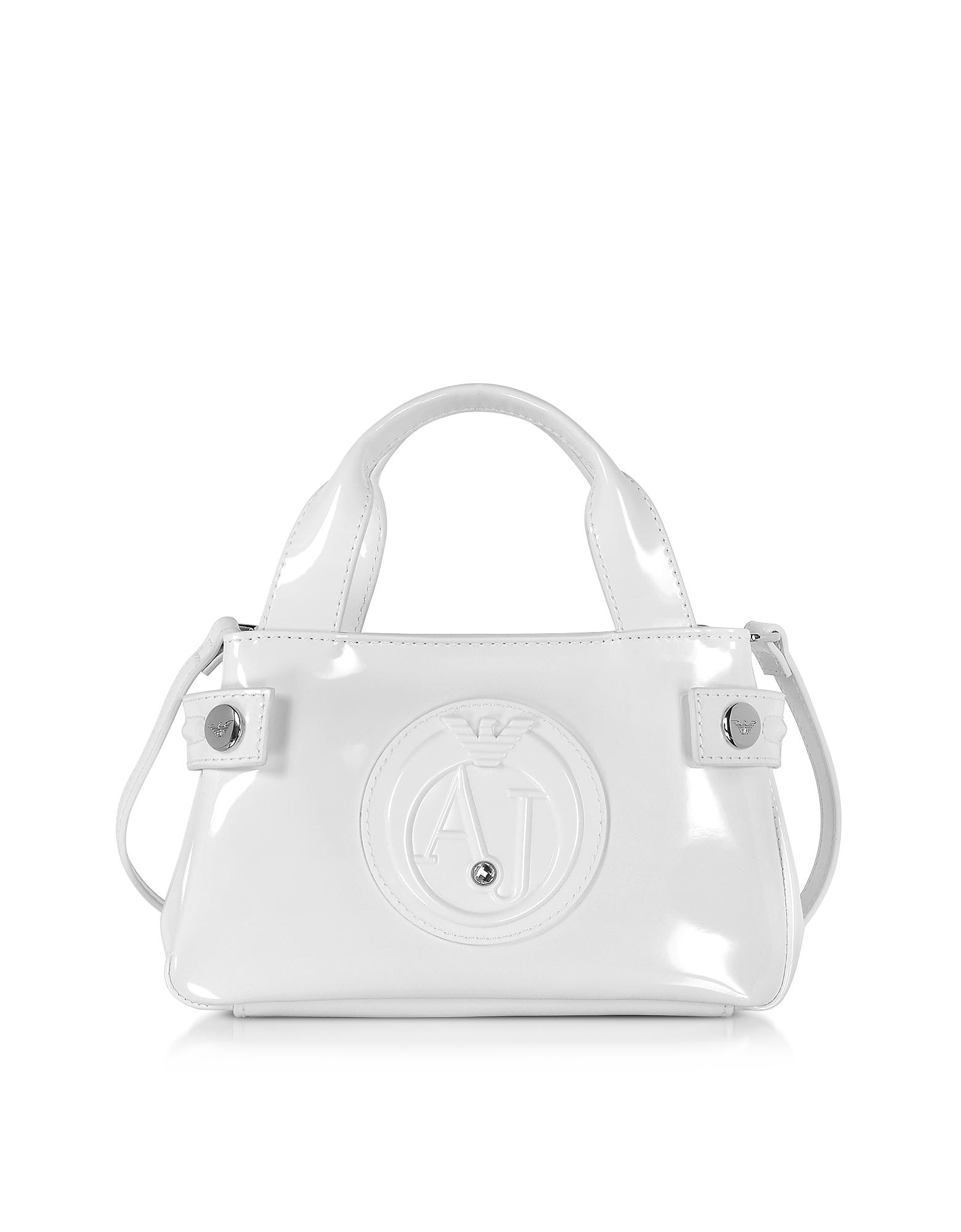 Armani Jeans Handbags, Signature Mini Patent Leather Tote Bag