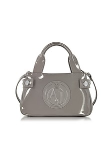Signature Mini Patent Leather Tote Bag - Armani Jeans