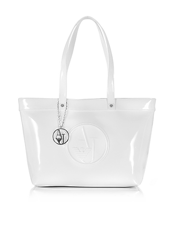 White Eco Patent Leather Large Tote Bag