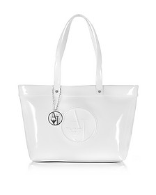 White Eco Patent Leather Large Tote Bag - Armani Jeans