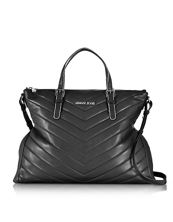 Armani Jeans - Black Quilted Eco Leather Zip Top Tote Bag