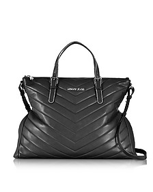 Black Quilted Eco Leather Zip Top Tote Bag - Armani Jeans