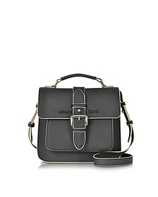 Black Signature Eco Leather Square Crossbody Bag - Armani Jeans