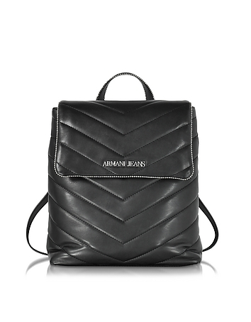 Armani Jeans - Black Quilted Eco Leather Backpack